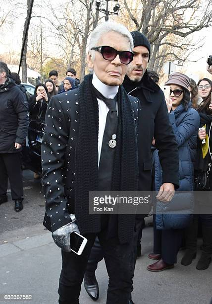 Karl Lagerfeld attends the Dior Homme Menswear Fall/Winter 20172018 show as part of Paris Fashion Week on January 21 2017 in Paris France