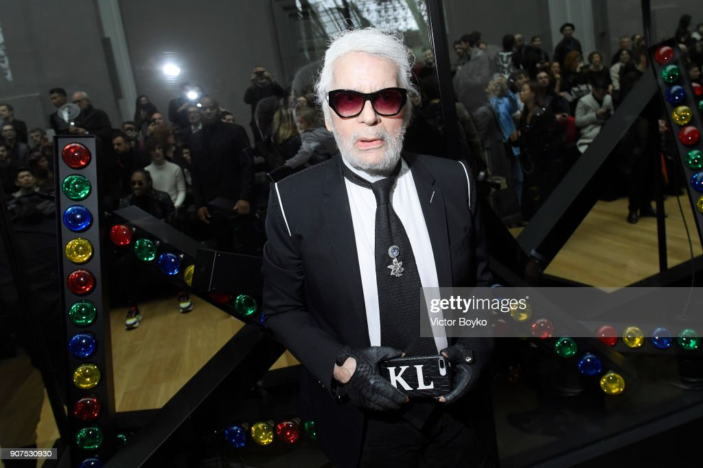 Karl Lagerfeld attends the Dior Homme Menswear Fall/Winter 2018-2019 show as part of Paris Fashion Week on January 20, 2018 in Paris, France.