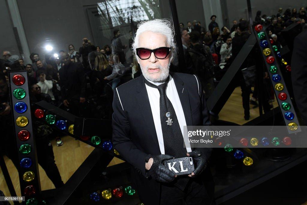 e4e9a7280f Karl Lagerfeld attends the Dior Homme Menswear Fall Winter 2018-2019 ...