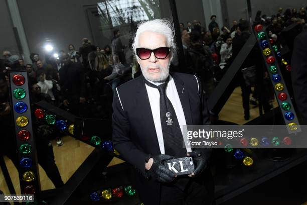 Karl Lagerfeld attends the Dior Homme Menswear Fall/Winter 20182019 show as part of Paris Fashion Week on January 20 2018 in Paris France