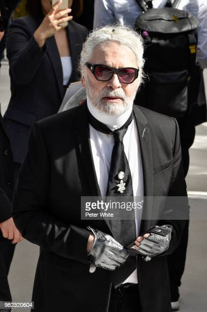 Karl Lagerfeld attends the Dior Homme Menswear Spring/Summer 2019 show as part of Paris Fashion Week on June 23 2018 in Paris France