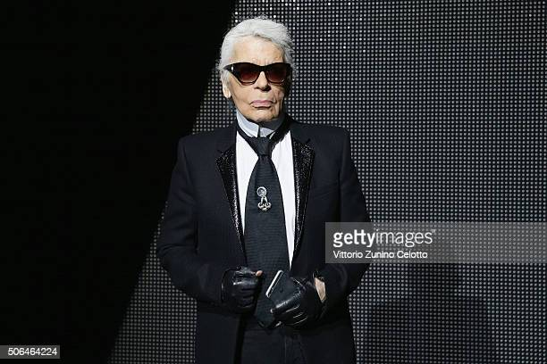 Karl Lagerfeld attends the Dior Menswear Fall/Winter 2016/2017 fashion show at Tennis Club de Paris on January 23 2016 in Paris France
