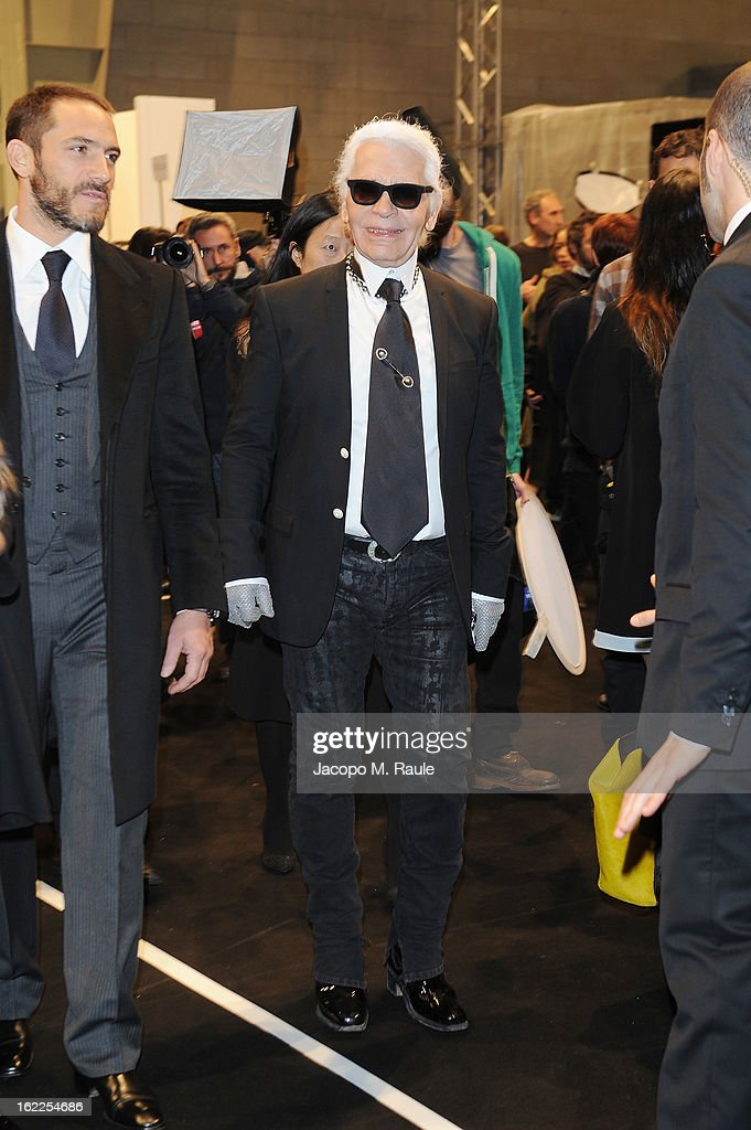 Karl Lagerfeld attends the Fendi fashion show as part of Milan Fashion Week Womenswear Fall/Winter 2013/14 on February 21, 2013 in Milan, Italy.
