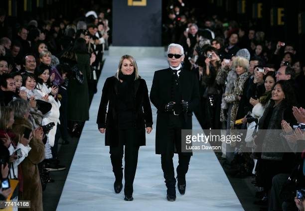 Karl Lagerfeld attends the Fendi Great Wall of China fashion show showcasing designer his Fall/Winter 2007 collection for the brand taking place on...