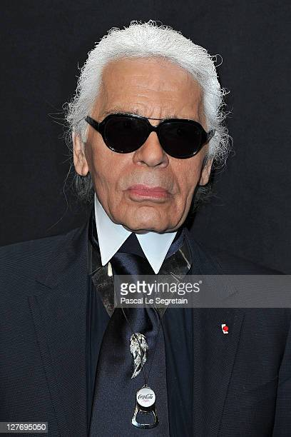 Karl Lagerfeld attends the Hogan by Karl Lagerfeld Ready to Wear Spring / Summer 2012 show and cocktail during Paris Fashion Week at Hotel Salomon de...