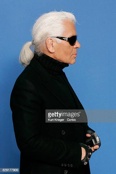 Karl Lagerfeld attends the Lagerfeld Confidential photo call at the 57th International Berlin Film Festival He is wearing a Christian Dior coat...