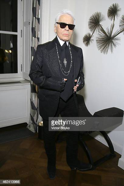 Karl Lagerfeld attends the party for Dasha Zhukova' cover for Wall Street Journal on January 27 2015 in Paris France