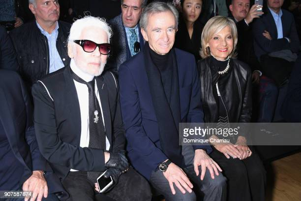 Karl Lagerfeld Bernard Arnault and a guest attend the Christian Dior Haute Couture Spring Summer 2018 show as part of Paris Fashion Week on January...