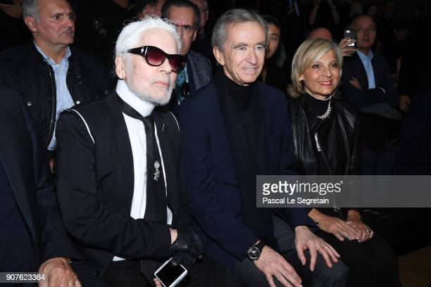 Karl Lagerfeld, Bernard Arnault and wife Helene Mercier-Arnault attend the Dior Homme Menswear Fall/Winter 2018-2019 show as part of Paris Fashion...