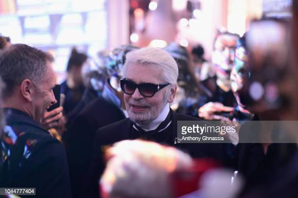 Karl Lagerfeld celebrates the launch of the Karl x Kaia collaboration capsule collection on October 2 2018 in Paris France