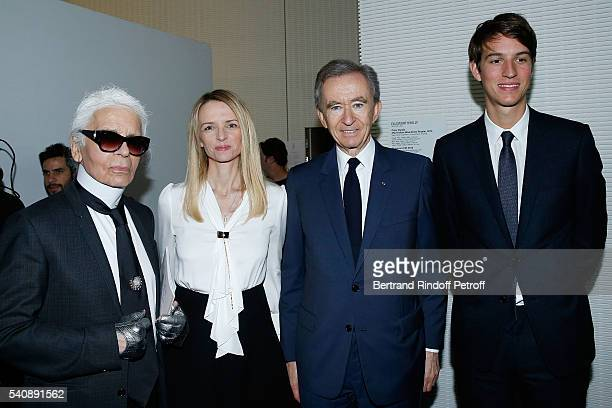 Karl Lagerfeld Delphine Arnault Bernard Arnault and Alexandre Arnault attend the LVMH Prize 2016 Young Fashion Designer at Fondation Louis Vuitton on...