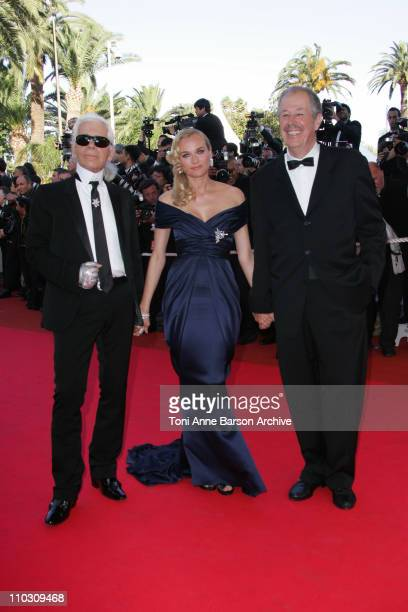 Karl Lagerfeld Diane Kruger and Denis Arcan during 2007 Cannes Film Festival Palme D'Or Arrivals at Palais des Festivals in Cannes France