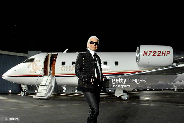 Karl Lagerfeld during 2007/2008 Chanel Cruise Show Presented by Karl Lagerfeld at Hangar 8 in Santa Monica California United States