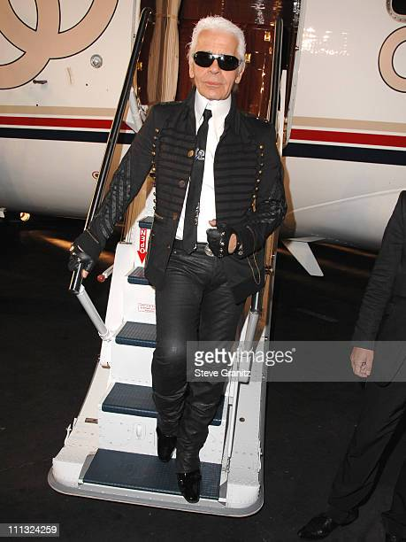 Karl Lagerfeld during 2007/2008 Chanel Cruise Show Presented by Karl Lagerfeld at Hangar 8 Santa Monica Airport in Santa Monica California United...