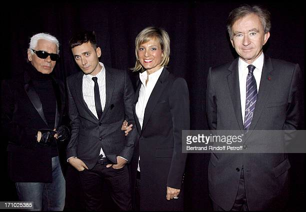 Karl Lagerfeld Hedi Slimane Bernard and Helene Arnault Dior masculine fashion show fall winter 20072008