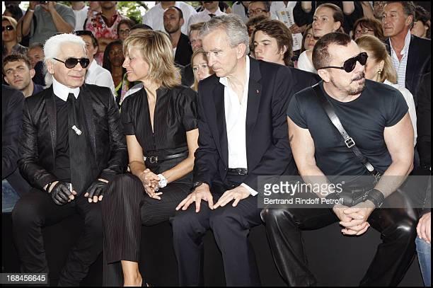 Karl Lagerfeld Helene and Bernard Arnault and Peter Marino at Dior Men Spring Summer 2009 Fashion Show