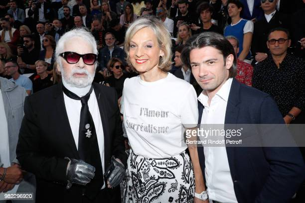Karl Lagerfeld Helene Arnault and Gautier Capucon attend the Dior Homme Menswear Spring/Summer 2019 show as part of Paris Fashion Week on June 23...