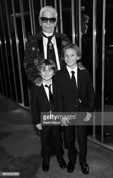 Karl Lagerfeld Hudson Kroenig and Jameson Kroenig attend V Magazine's intimate dinner in honor of Karl Lagerfeld at The Top of The Standard on...