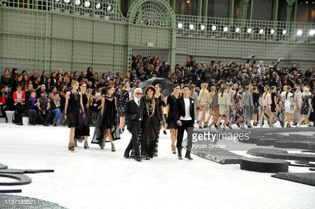 Karl Lagerfeld Inès de La Fressange and Baptiste Giabiconi in the finale of the Spring/Summer 2011 Chanel womenswear show during Paris Fashion Week...