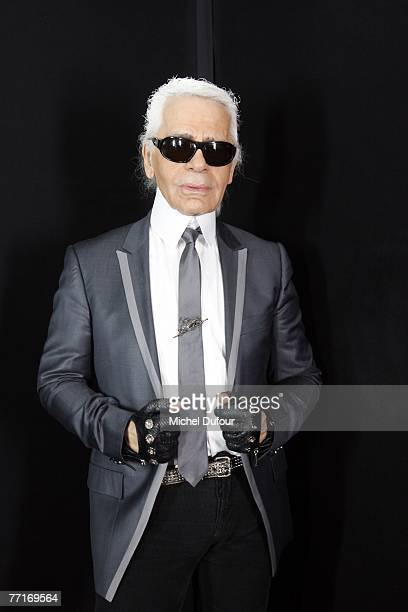 Karl Lagerfeld is pictured backstage at the Karl Lagerfeld fashion show during the Spring/Summer 2008 readytowear collection show at Jardins des...