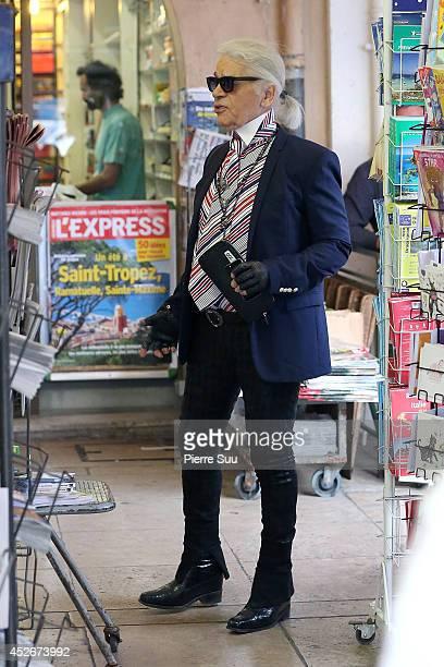 Karl Lagerfeld is seen in the port on July 25 2014 in Saint Tropez France