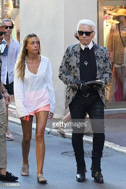 Karl Lagerfeld is seen on August 1 2013 in SaintTropez France