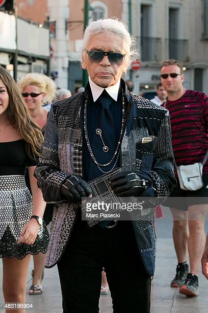 Karl Lagerfeld is seen on the harbour of Saint Tropez on August 6 2015 in SaintTropez France