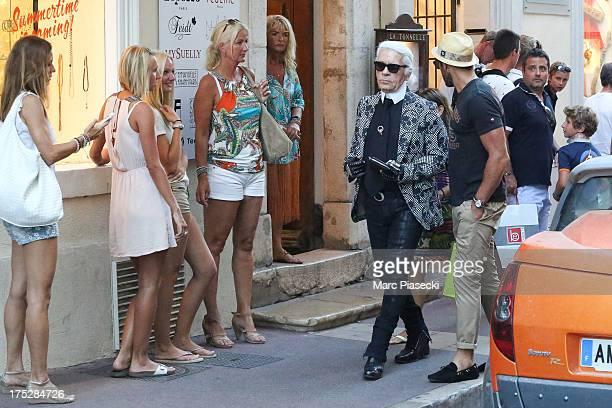 Karl Lagerfeld is seen strolling on August 1 2013 in SaintTropez France