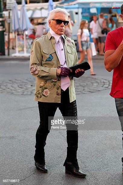 Karl Lagerfeld is seen strolling on hte port on July 26 2014 in SaintTropez France