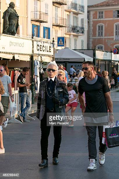 Karl Lagerfeld is seen strolling on the harbour of Saint tropez on August 6 2015 in SaintTropez France
