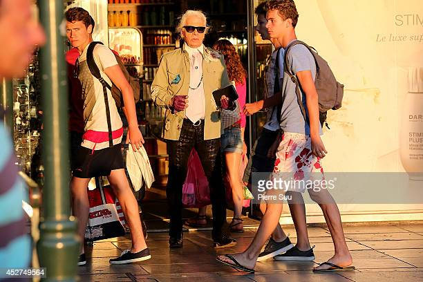 Karl Lagerfeld is seen strolling on the port on July 26 2014 in SaintTropez France