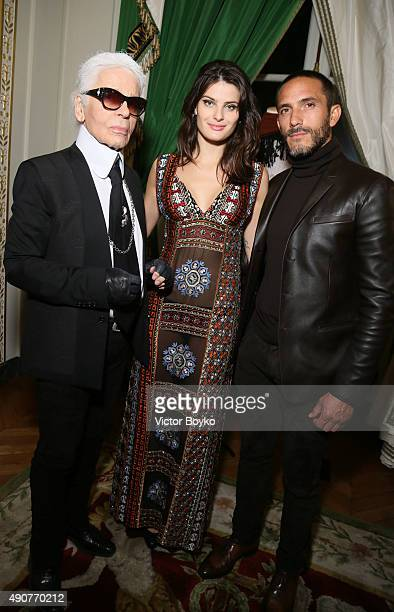 Karl Lagerfeld Isabeli Fontana and Sebastien Jondeau attend Der Berliner Mode Salon supported by MercedesBenz Cocktail as part of Paris fashion Week...