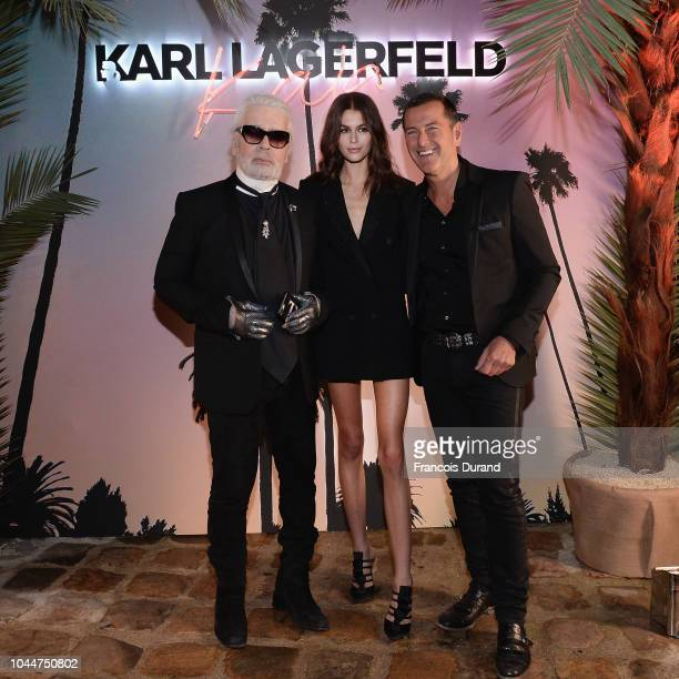 Karl Lagerfeld Kaia Gerber and Pier Paolo Righi celebrate the launch of the Karl x Kaia collaboration capsule collection on October 2 2018 in Paris...