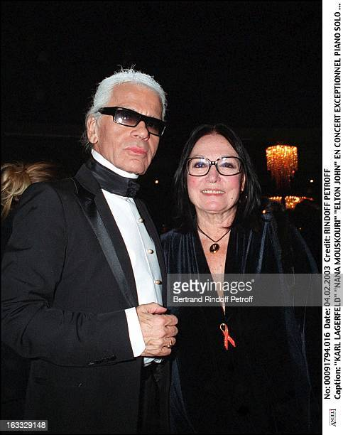 Karl Lagerfeld 'Nana Mouskouri' 'Elton John' exceptional Piano Solo concert at the Lido for the benefit of his foundation against AIDS Paris