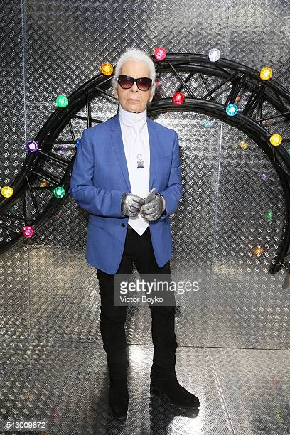 Karl Lagerfeld poses backstage before the Dior Homme Menswear Spring/Summer 2017 show as part of Paris Fashion Week on June 25 2016 in Paris France