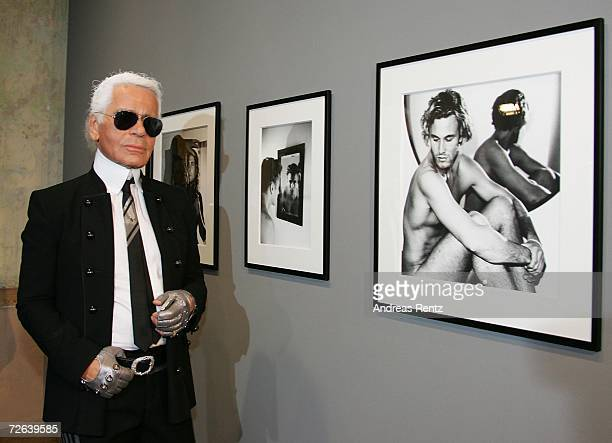 Karl Lagerfeld poses during the opening of the One Man Shown photography exhibition on November 24 2006 in Berlin Germany The exhibition features...