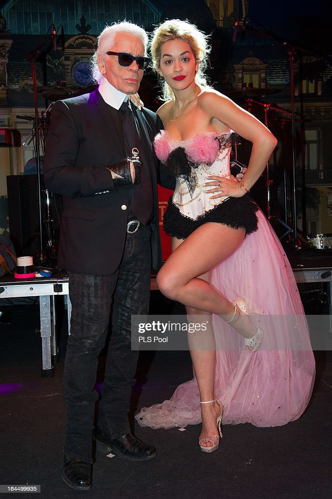 Karl Lagerfeld poses with Rita Ora before the 'Bal De La Rose Du Rocher' in aid of the Fondation Princess Grace on the 150th Anniversary of the SBM at Sporting Monte-Carlo on March 23, 2013 in Monte-Carlo, Monaco.