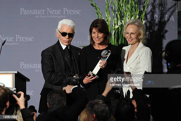 Karl Lagerfeld Princess Caroline of Hanover and Angelika Diekmann attend the 'Menschen in Europa' Charity Award at the Media Centre Passau on...
