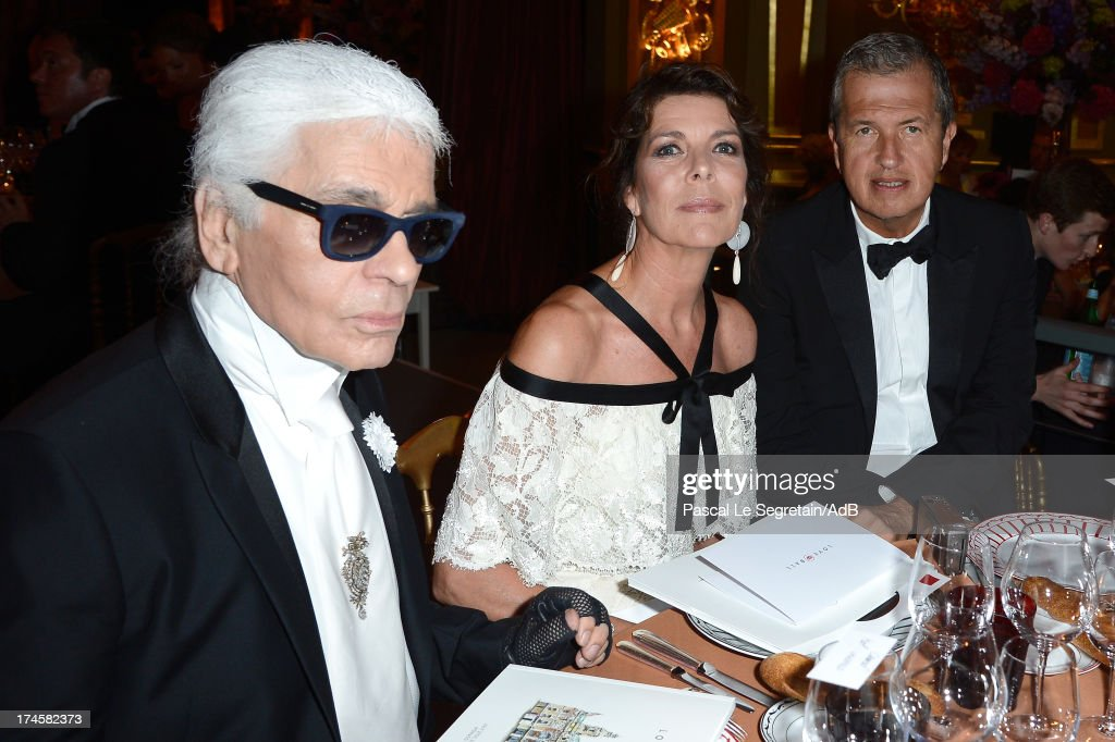 Karl Lagerfeld, Princess Caroline of Hanover and Mario Testino attends the dinner at the 'Love Ball' hosted by Natalia Vodianova in support of The Naked Heart Foundation at Opera Garnier on July 27, 2013 in Monaco, Monaco.
