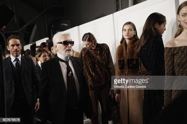 Karl Lagerfeld seen backstage ahead of the Fendi show during Milan Fashion Week Fall/Winter 2018/19 on February 22 2018 in Milan Italy