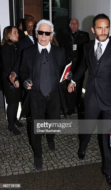 Karl Lagerfeld sighted leaving the 'Corsa Karl Und Choupette' Vernissage event on February 3 2015 in Berlin Germany