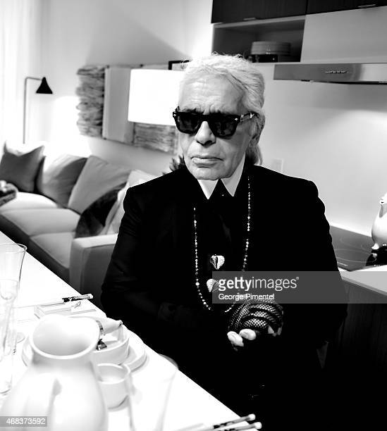 Karl Lagerfeld visits The Toronto Art Shoppe Lofts And Condos on April 1 2015 in Toronto Canada