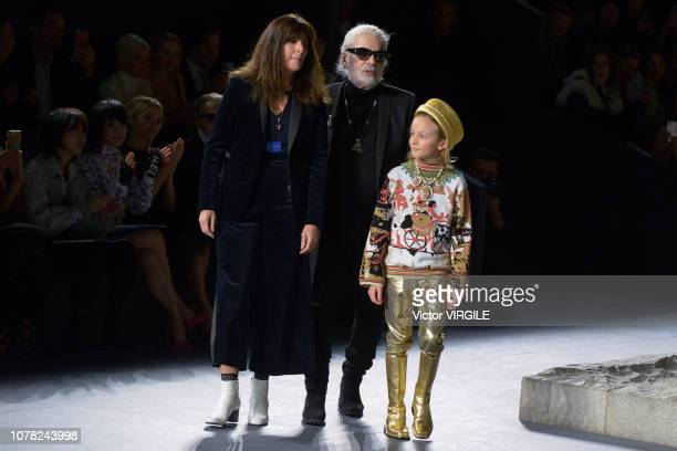 Karl Lagerfeld walks the runway at Chanel Metiers D'Art 2018/2019 Fashion show at The Metropolitan Museum of Art on December 04 2018 in New York City