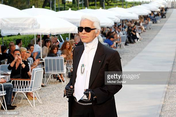 Karl Lagerfeld walks the runway during the Chanel Collection Croisiere at Hotel du Cap on May 9 2011 in Cap d'Antibes France