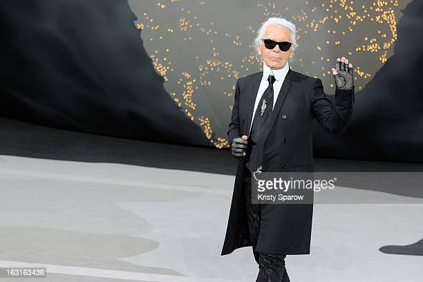 Karl Lagerfeld walks the runway during the Chanel Fall/Winter 2013/14 ReadytoWear show as part of Paris Fashion Week at Grand Palais on March 5 2013...