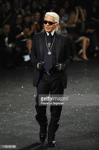 Karl Lagerfeld walks the runway during the Chanel Haute Couture Fall/Winter 2011/2012 show as part of Paris Fashion Week at Grand Palais on July 5...