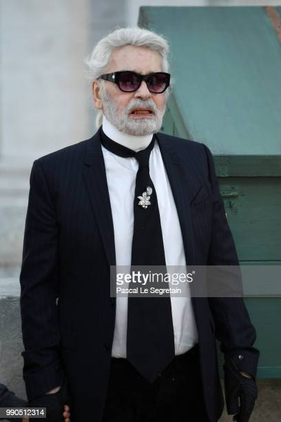 Karl Lagerfeld walks the runway during the Chanel Haute Couture Fall Winter 2018/2019 show as part of Paris Fashion Week on July 3 2018 in Paris...