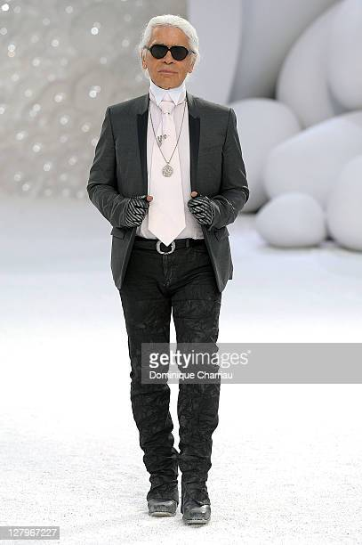 Karl Lagerfeld walks the runway during the Chanel Ready to Wear Spring / Summer 2012 show during Paris Fashion Week at Grand Palais on October 4 2011...