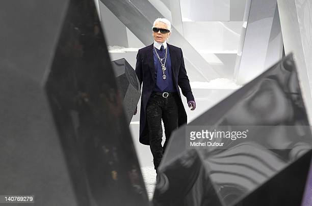 Karl Lagerfeld walks the runway during the Chanel ReadyToWear Fall/Winter 2012 show as part of Paris Fashion Week at Grand Palais on March 6 2012 in...