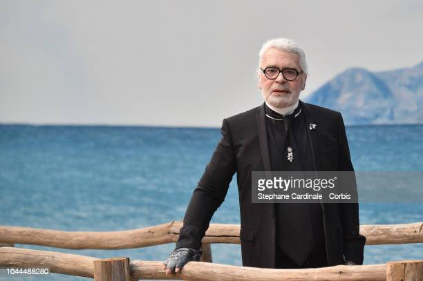 Karl Lagerfeld walks the runway during the Chanel show as part of the Paris Fashion Week Womenswear Spring/Summer 2019 on October 2 2018 in Paris...